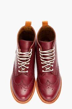 DR. MARTENS Borgonha couro Bentley Wingtip Brogue Boots de jeannine