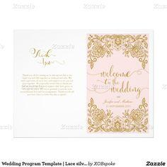 "Wedding Program Template | Lace silver 8.5"" X 11"" Flyer"