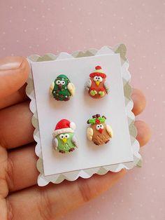 Christmas Owl Earrings Set - Owl Earrings - Christmas Gifts - Christmas Jewelry - Xmas Jewelry - Holiday Earrings - Secret Santa Gifts