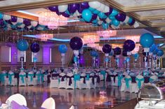 purple and teal, aqua home decor images | Purple & Turquoise Bat Mitzvah with Alternating Solid Balloon ...