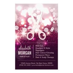 "Modern Hair Stylist - Pink Glitter Sparkle 5.5"" X 8.5"" Flyer"