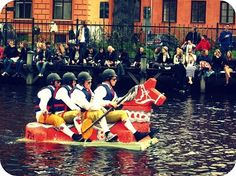 Celebrating Valborg (Walpurgis) in Uppsala. It's tradition for students to go rafting on Fyrisån in rafts they build themselves.
