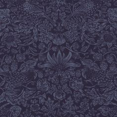 Strawberry Meadow Fabric A beautiful fabric with William Morris' 'Strawberry Thief' design, featuring strawberry bushes and birds redesigned by Philip Webb in powder blue on a navy ground.