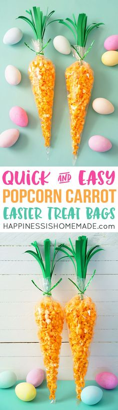 Carrot Treat Bags filled with yummy popcorn are a super cute and easy-to-whip-up Easter treat! Kids of all ages will love these fun Easter treat bags shaped like carrots! via @hiHomemadeBlog