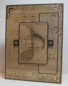 birthday card for him or any music lover! Love the gold foil notes! ~ Notes By Nina
