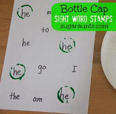 Bottle Cap Sight Word Stamps: A simple way to practice reading common words. Kindergarten Language Arts, Preschool Literacy, Early Literacy, Literacy Activities, In Kindergarten, Preschool Education, Preschool Ideas, Teaching Sight Words, Sight Word Practice