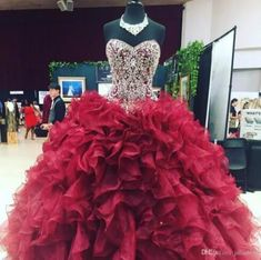 Crystal Beaded Sweetheart Bodice Corset Organza Ruffles Ball Gowns Quinceanera Dresses - Work Dresses - Ideas of Work Dresses - sweet 16 dressburgundy quinceanera dresses Tulle Ball Gown, Ball Gowns Prom, Party Gowns, Pageant Dresses, Ball Dresses, Dress Prom, Party Dress, Prom Party, Long Dresses