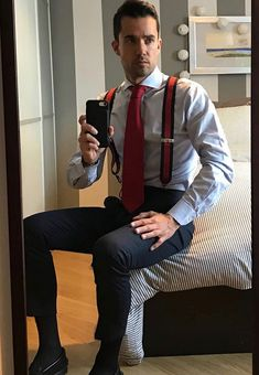 Image may contain: 1 person, standing Mens Fashion Suits, Mens Suits, Male Fashion, Mens Braces, Smart Men, Herren Outfit, Mens Style Guide, Business Outfit, Dress Socks