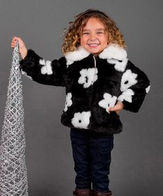 Love this Black & White Floral Faux Fur Jacket - Toddler on #zulily! #zulilyfinds