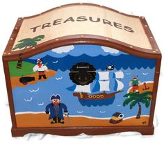 Olive Kids Pirate Theme Treasure Chest Toy Box by kristenbrickman Class Projects, Projects To Try, Pirate Treasure Chest, Baby Room Themes, Auction Ideas, Pirate Theme, Toy Boxes, Keepsake Boxes, Dinosaurs