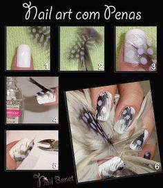 Feather nail art Feather Nail Designs, Feather Nail Art, 3d Nail Art, Cute Nail Designs, Nail Arts, Cute Nails, Pretty Nails, Hair And Nails, My Nails