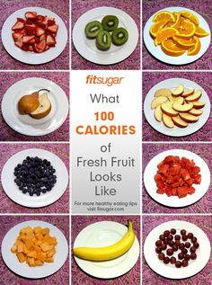 What 100 calories of fresh fruits looks like