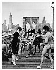 An Anti War Naked Protest and Flag Burning on the Brooklyn Bridge in 1968.