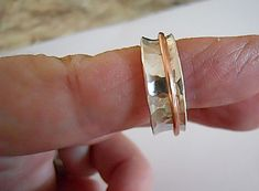Sterling Spinner Ring, Silver and Copper, Worry Ring, Hammered Silver, Gift for Her/Him, $40