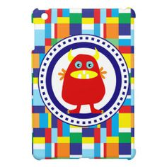 Cute Red Monster on Colorful Patchwork Blocks Case For The iPad Mini SOLD on Zazzle