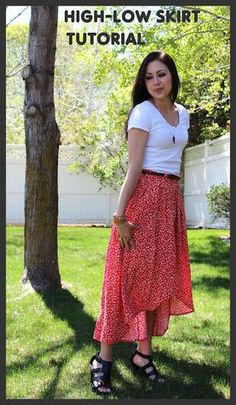 a654e5326 THE SISTERS FOUR  high-low skirt tutorial (upcycle) Como Hacer Una Pollera