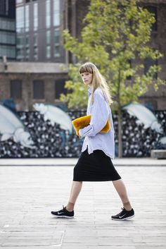   FASHION   perfect for spring - pale blue shirt with long skirt and trainers - Nike trainers - nude socks - fluffy bag - short fringe