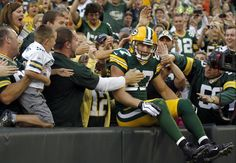 Here's Jordy practicing his Lambeau Leap in the preseason game I attended against the Cleveland Browns!