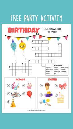 Diy Birthday Party Games, Birthday Activities, Party Activities, Free Activities For Kids, Puzzles For Kids, Worksheets For Kids, Kindergarten Classroom, Kindergarten Activities, Unicorn Books