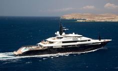 """Alfa Nero"" 82m motor yacht by Oceanco. The aft deck swimming pool transforms into a helipad"
