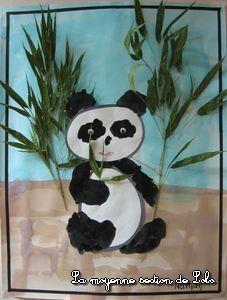 panda avec des feuilles de bambou séchées et vernies Animal Projects, Art Projects, China, Safari Crafts, Pet Day, Rosa Parks, Chinese Culture, Chinese New Year, Art Plastique