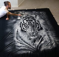 Large Salt Tiger Drawing by AtomiccircuS