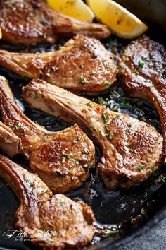 Just like a Greek restaurant or even better! Whether you decide to grill them or fry them in a cast iron skillet (or regular pan), these homemade Greek Lamb Chops are a family favourite! Baked Lamb Chops, Lamb Loin Chops, Grilled Lamb Chops, Lamb Chops Marinade, Roasted Lamb Chops, How To Cook Lamb, Lamb Chop Recipes, Lamb Dishes, Cooking Recipes