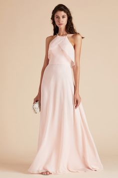 2d62e707924e Birdy Grey Julia Ruffle Halter Chiffon Bridesmaid Dress in Blush Pink under   100 Blush Pink Bridesmaid