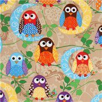 blue Cosmo cartoon owl tree oxford fabric Japan - Owl Fabric - Fabric - kawaii shop modeS4u