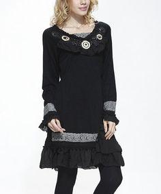 Look what I found on #zulily! Black Ruffle Crochet Tunic - Women #zulilyfinds