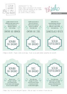 Scrub esfoliante, sali e bombe da bagno: free printable