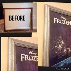 DIY frame makeover. Glitter spray paint. Queen Elsa room.