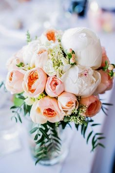 Rose + Peony Centerpiece: http://www.StyleMePretty.com/australia-weddings/south-australia-au/2014/01/21/rustic-chic-vineyard-wedding/ | Photography: Emma Sharkey Photography