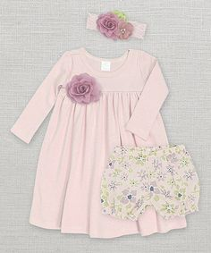 Look what I found on #zulily! Pale Mauve Flower Dress Set - Infant by Truffles Ruffles #zulilyfinds