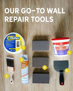 How to Repair or Patch a Wall + Our Go-To Tools for the Job - Chris Loves Julia. This Red Devil brand One-Time Spackling sounds great! Repair Drywall Hole, How To Patch Drywall, Fix Hole In Wall, Hole In Wall Repair, Kitchen Cabinets Repair, Drywall Corners, Diy Baby Gate, Peeling Paint, Diy Home Repair