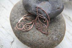"""Ossidato argento o rame orecchini, wire wrap rame orecchini """"Fairy wings"""", elfiche orecchini, orecchini infila"""