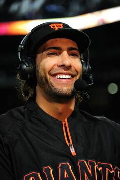ATLANTA, GA - MAY 2: Michael Morse #38 of the San Francisco Giants is interviewed after the game against the Atlanta Braves at Turner Field on May 2, 2014 in Atlanta, Georgia. (Photo by Scott Cunningham/Getty Images)