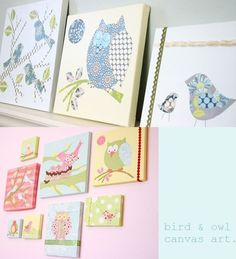 DIY nursery art with canvas, scrapbook paper, and rid rak. I was thinking about buying art similar on etsy...but maybe I could do it myself? The birds are too cute!