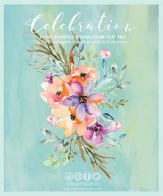 Watercolor Floral clipart PNG wedding bouquet arrangement