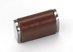 Laurey Cabinet Knobs, 1 1/8″ Leather Knob- Satin Nickel/Tan