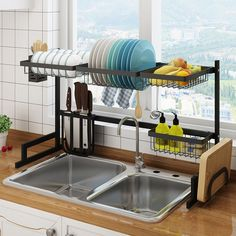 eModernDecor Stainless Steel Black Dish Drying Rack Over Kitchen Sink-All in One Kitchen Space Saver & Washing Dishes Solution - The Home Depot Small Apartments, Small Spaces, Kitchen Ideas For Apartments, Apartment Kitchen Decorating, Kitchen Space Savers, Do It Yourself Organization, Dish Racks, Kitchen Dishes, Kitchen Set Up