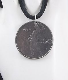 1975 Italian Coin Necklace 50 Lire Coin by AutumnWindsJewelry