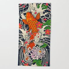Art Of Koi Fish Leggings Oversized Beach Towel by Prajoedi - Beach Towel Dragon Koi Tattoo Design, Japanese Girl Tattoo, Tim Burton Art, Lotus Art, Asian Tattoos, Koi Fish Pond, Kids Beach Towels, Tattoo Flash Art, Thing 1