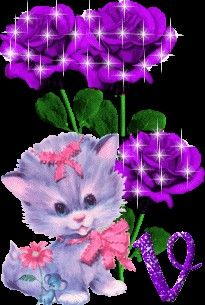 Discover & share this Animated GIF with everyone you know. GIPHY is how you search, share, discover, and create GIFs. Kitten Wallpaper, Flower Phone Wallpaper, Purple Love, All Things Purple, Beautiful Gif, Beautiful Flowers, Bisous Gif, Kitten Cartoon, Flowers Gif