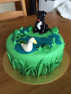 Labrador & duck themed birthday cake #kathrynprancedesignscakes