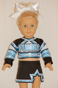 Made to match cheer uniforms. Send her a picture of your uniform and she makes an exact replica. Ropa American Girl, American Girl Crafts, American Doll Clothes, My Life Doll Clothes, Bitty Baby Clothes, Cheerleading Outfits, Girl Dolls, Ag Dolls, Doll Costume