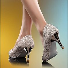 Women's Shoes Pointed Toe Stiletto Heel Glitter Pumps Shoes More Colors available – USD $ 34.79