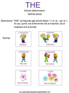 schede_didattiche_inglese_the_articolo_determinativo Esercizi in inglese English Class, English Lessons, English Grammar, Teaching English, Learning Italian, Problem Solving, Twins, Study, Halloween