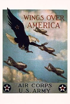 Vintage Military WWII WW 2 World War 2 Wings Over America Air Force Postcard