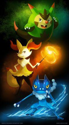Kalos Teenagers by arkeis-pokemon.deviantart.com on @deviantART (Quilladin, Braixen, and Frogadier)